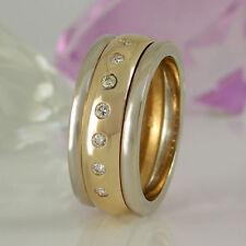 Echtschmuck aus mehrfarbigem Gold mit Diamant-Hauptstein für Damen