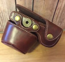 "Vintage Leather Camera Case With Brass Hardware - Steampunk 5""x4""x3"" Universal"