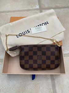 Authentic Louis Vuitton Mini Pochette Accessoires Damier Ebene Canvas Brand New
