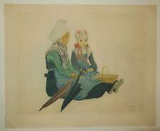 Emile DEZAUNAY [Deux BRETONNES]. Gravure originale SIGNEE - PONT-AVEN - BRETAGNE