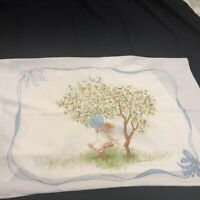 Vintage 1976 Holly Hobbie Standard Pillowcase On Swing and Smelling Roses 2 Side