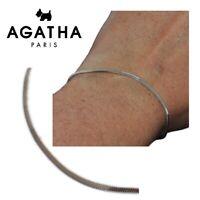 AGATHA Bracelet fin en argent massif 925 maille serpent 18cm bijou