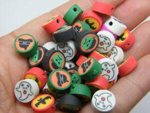 30 Halloween beads random mixed polymer clay HC201