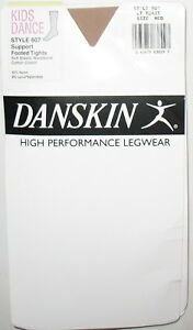 DANSKIN HIGH PERFORMANCE LEGWEAR - NEW - MEDIUM - LT. TOAST -  FOOTED TIGHTS