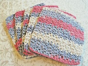 "5 Crochet  Dish / Wash Cloths 100% Cotton - Handmade - 6 ""- Candy"