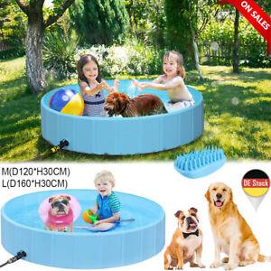 PVC Hundepool Planschbecken Pool Hundebad Bad Schwimmbad Ø120/160cm Blau Faltbar