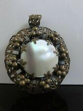 Pearl Beautiful Ornate Brass Pendant Victorian Antique Czech Mother Of