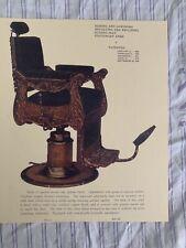 1912 KOCHS' Vintage Quarter-Sawed Golden Oak Reclining Barber Chair Sign Ad