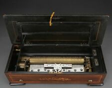 Antike Zylinder-Spieluhr Walzenspieluhr selten mit Mandoline-Effekt Intarsien