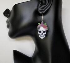 Cute Earrings, Punk Earrings, Acrylic Sugar Skull Earrings, Halloween Jewelry,