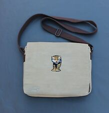 Hex Canvas Infinity Messenger Laptop Bag With Big Cat Embellishment Tan