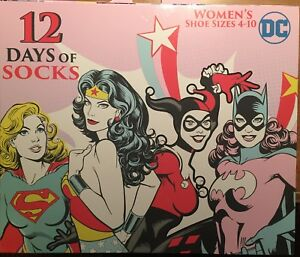New in BOX DC Comics 12 days of SOCKS Women's Sizes 4-10 Wonder Woman Harley