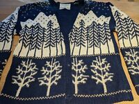 Vintage Marisa 1996 Christina Christmas Sweater S Blue/White Tree Cardigan Gold