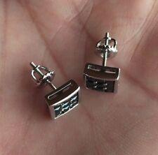 10K W Gold 0.06 ct. Black Diamond Invisible Set Screw Back Stud Earrings 8mm
