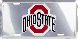 OHIO STATE BUCKEYES CAR TRUCK TAG CHROME LICENSE PLATE METAL BUCKEYES FOOTBALL