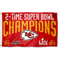 3x5 Foot Kansas City Chiefs 2 Time Super Bowl Champions Flag