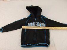 Childrens Infant Adidas 100% Cotton Black Blue Striped Hoodie Full Zipper! 30164