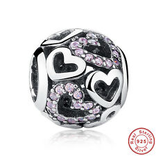 Love Heart Pink Crystal .925 Sterling Silver Charm Bead for Bracelet