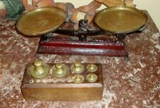 EUERZA 2K Log CAST IRON BALANCE SCALE with 6 Weights in Wooden Holder