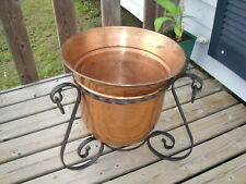 Vintage French Large Copper Planter with Wrought Iron Stand