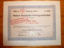 D: BAHN: 1913 ! Neisser Kreisbahn AG, Neisse, 1000 Mark