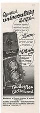 Pubblicità 1935 ROLLEIFLEX ROLLEICORD FILM FOTO COMPUR advert werbung publicitè