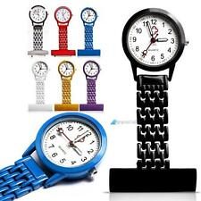Best Brand Vintage Silver Stainless Steel Nurses Pocket Quartz Fob Watch#Jz
