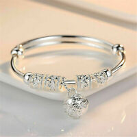 925 Silver Plated Bead Bracelet Women Bangle Fashion Ladies Jewellery Gifts