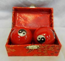 Enamel Chinese Baoding Balls - Yin and Yang - Red - Boxed - New - 50mm