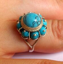 Sterling Silver Turquoise Cluster Ring, Size 6