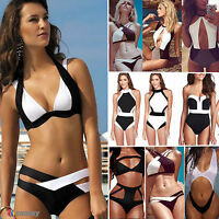Damen Monokini Paddded Bademode Push Up Bandage Bikini Badeanzug Beach Clubwear
