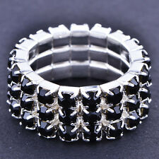 Yellow Gold Filled Crystal adjustable Promise Ring Love Band elastic Ring
