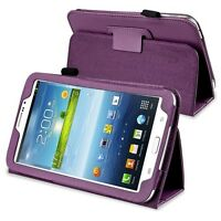 """PURPLE PU LEATHER CASE COVER FOR SAMSUNG GALAXY TAB 3 7"""" 7.0 STAND + STYLUS"""