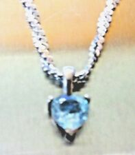 Blue Topaz Pendant Heart Necklace Solid Sterling Silver pendant and Chain