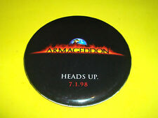 ARMAGEDDON - HEADS UP 7/1/98 MOVIE FILM  PROMO PIN BACK BUTTON