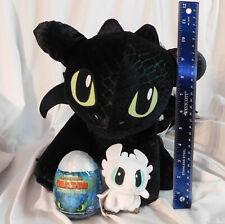 "12"" Toothless Build Bear Black Dragon Plush Sound & White Baby Nightlight in Egg"