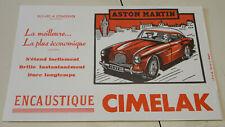 ancien buvard publicitaire encaustique CIMELAK voiture aston martin