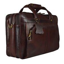 Men's Brown Cowhide Genuine Leather Messenger Shoulder Laptop Bag Briefcase 01