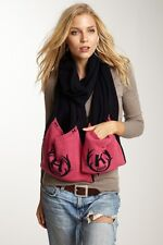$245 Hunter Boots Navy Blue/Pink Two-tone Knit Pocket Scarf Cashmere Wool