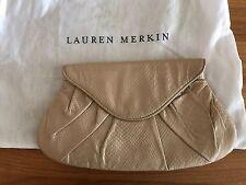 Lauren Merkin Lotte Envelope Clutch Bag Purse Beige Lamb Leather Flap-Top