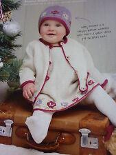 Knitting Pattern- Stunning D.K. Set Pinafore Dress ,Jacket & Hat- Sizes 3-24mths