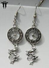 Late! Alice in Wonderland Inspired White Rabbit Clock Earrings