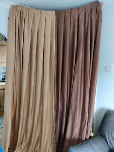"Curtains brown camel two tone L98"" W168"" handmade box pleat very long (u)"