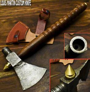 Louis Martin Handmade Damascus Steel Walnut Wood Hunting Axe Knife with Pipe