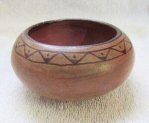 Maricopa Indian Art Pottery Bowl Vintage Black On Tan Glaze