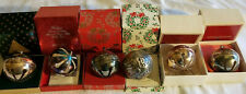 5 WALLACE SILVER PLATE SLEIGH BELL ORNAMENTS PLUS 1 REED & BARTON