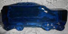 Blue Vaseline glass train Coal Tender box car uranium canary railroad RR Cobalt