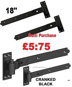 "18"" GATE CRANKED HOOK & BAND HINGES HEAVY DUTY STABLE GARAGE SHED BARN DOOR BLK"