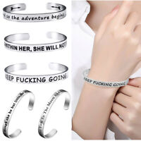 Personalize Open Cuff Bangle Inspirational Bracelet Bangles Letter Engraved Gift