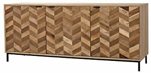 "76"" W Allen Sideboard Two Tone Solid Walnut Wood Pattern Doors Modern"